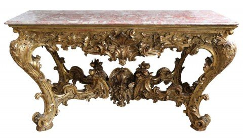 A Monumental Italian Carved and Gilded Wood Console Table