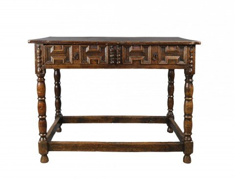 English Oak Writing Desk/ Side Table by 17th Century British School
