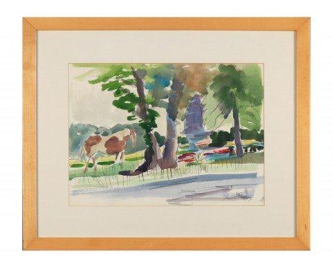 Joseph Benjamin O'Sickey - Pinto Horse in Summer Landscape