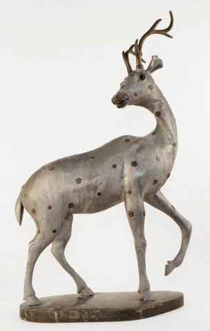 A Chinese Pewter Figure of a Deer