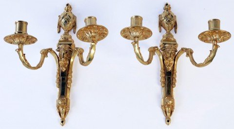 Pair Louis XVIth French Gilt Bronze Wall Sconces