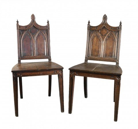 Pair Gothic Style English Oak Hall Chairs
