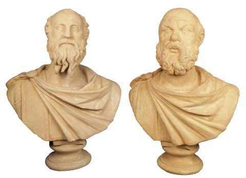 Pair of Terracotta Busts of Diogenes and Socrates