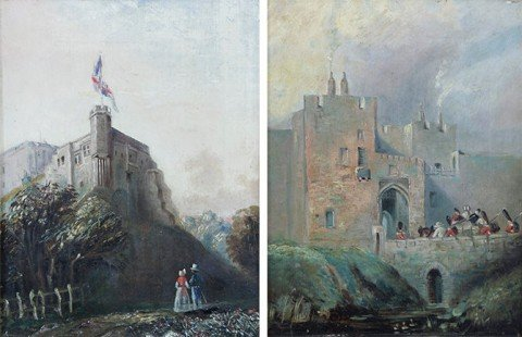 Carlyle Castle, Castle Gate and St Mary's Tower, a pair of paintings