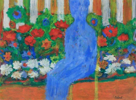 Blue Man with Flowers, 1976 by William Schock