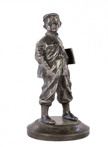 A Silvered Bronze Figure of a Newsboy