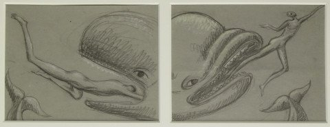Animal Figurative Graphite on Paper Drawing: