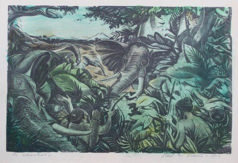 Jungle Scene with Elephants and Native Hunters