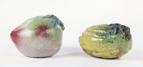 Two Chinese Glazed Ceramic Fruits