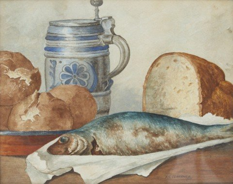 Still Life with Fish, Bread and German Stein
