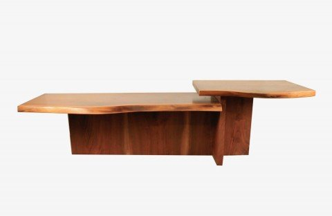 A Free Form Walnut Table, Modern, In the style of George Nakashima by 20thc. American School
