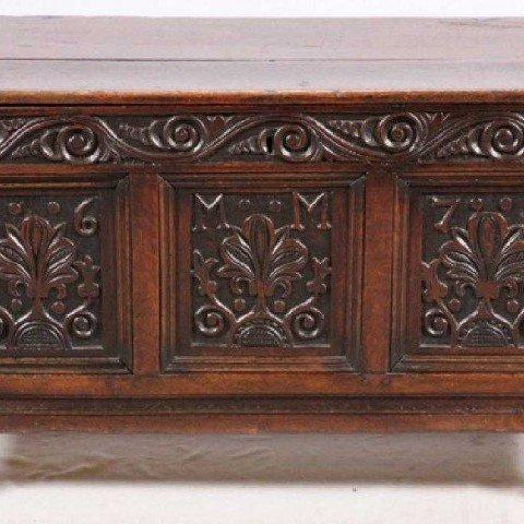 17th Century English Carved Oak Coffer by 17th Century British School