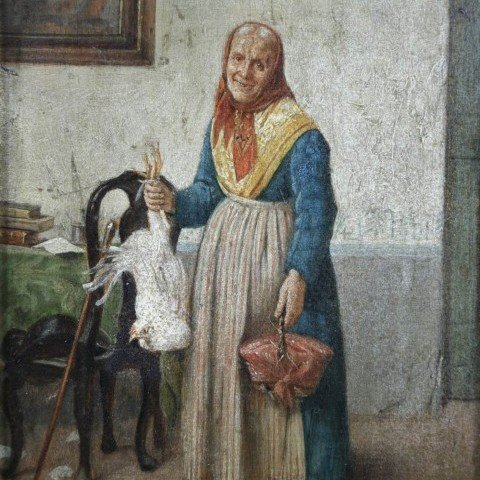 Old Woman with Chicken