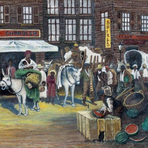 46 New Orleans Market Scene, Attributed to Palmer Hayden (American, 1890-1973)