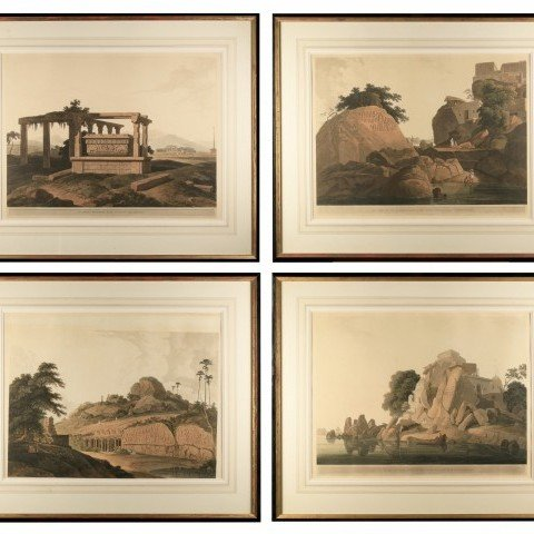 Set of Four Aquatints from 'Oriental Scenery'