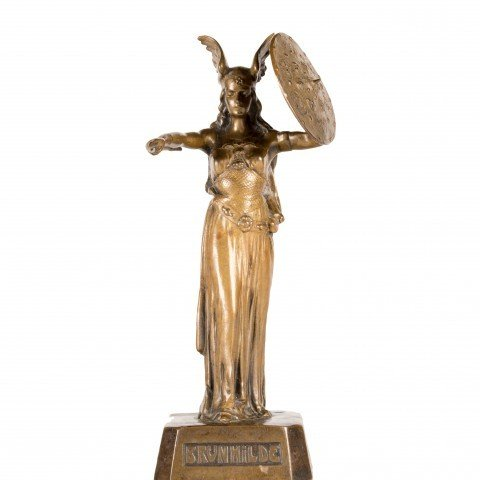 A Wagnerian Bronze Figure of Brunhilde