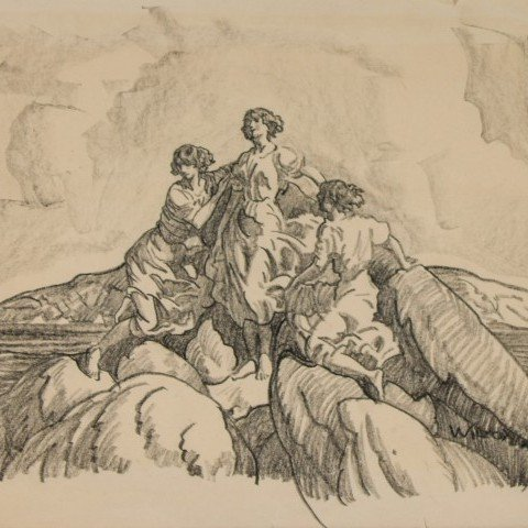 Study of Girls Posed on Rocks on Bonaventure Island