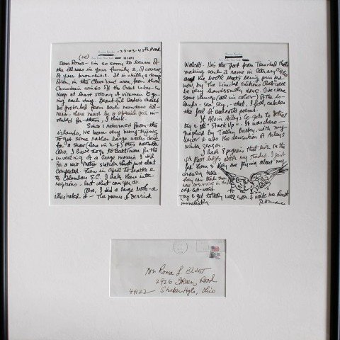 Two Framed Letters with drawings by Romare Bearden