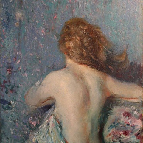 Nude Against a Flowered Cloth, Double Sided Painting