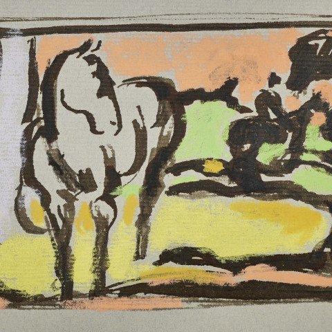 Horse and Rider in a Landscape by Algesa O'Sickey