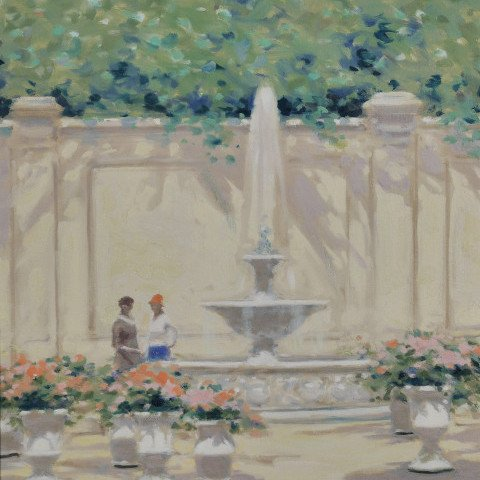 André Gisson - Parisian Scene of Figures by a Fountain