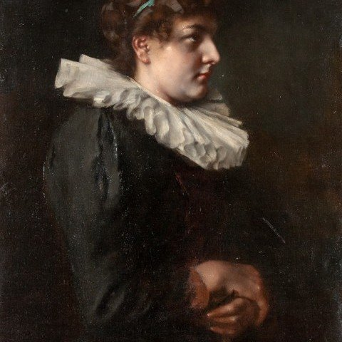 Anton Laupheimer - Portrait of a Woman Holding a Glove