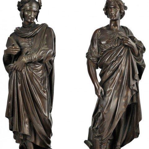 Pair of Figural Dante & Ovid Sculptural Bookends by Antoine Pierre Aubert