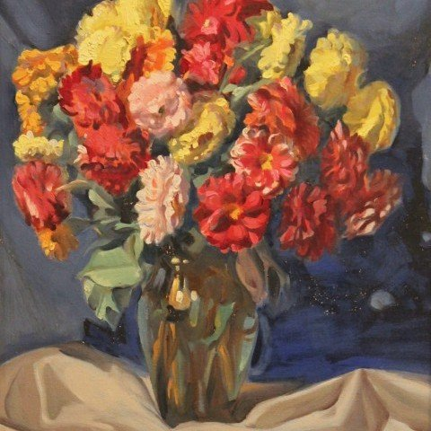 Still Life, Zinnias in a Vase