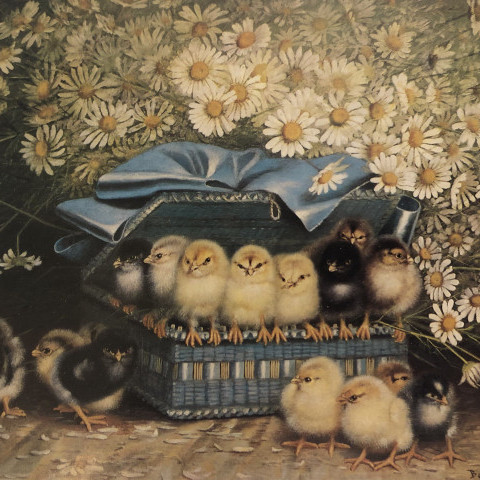 Ben Austrian - Chicks in a Blue Basket