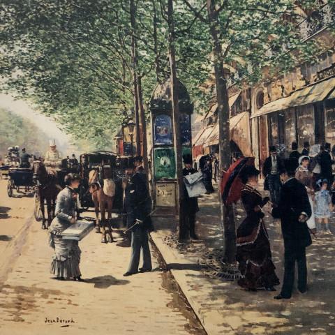 Scene de Grand Boulevard devant la Maison Klein by Jean Béraud