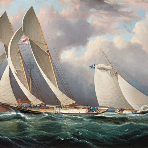 James Edward Buttersworth - Yachting Race at New York Harbor