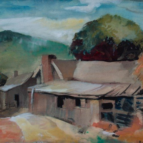 Landscape Watercolor on Illustration Board Painting: