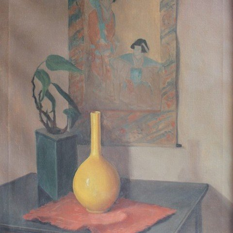 Still Life with Yellow Vase and Japanese Painting