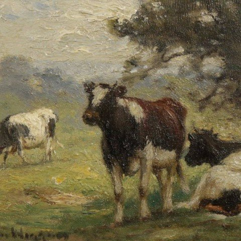 Cattle in Landscape by Guy Carleton Wiggins