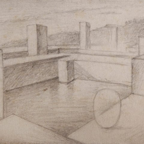 Abstract Graphite on Illustration Board Drawing:
