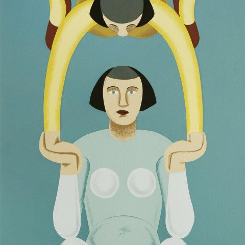 Abstract Figurative Silkscreen Painting: