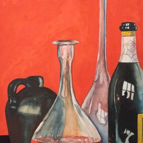 Still Life, Bottles and Beakers