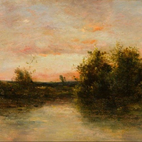 Charles Daubigny - River Scene with Fisherman in Small Boat