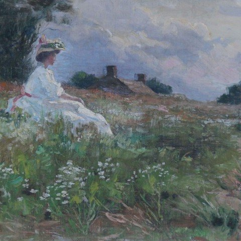 Charles Francis DeKlyn - Woman in a Country Landscape