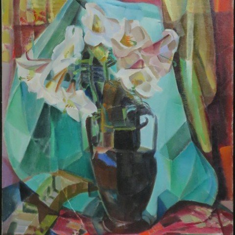 Still Life with Regal Lilies in Dark Vase