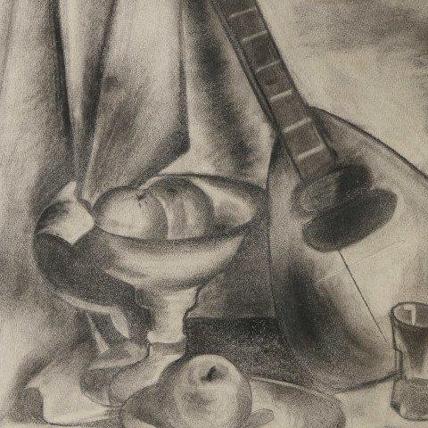 Still-Life with Mandolin and Fruit by Clara Deike