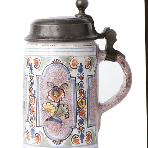 Continental Faience Pewter Mounted Tankard by Continental Faience