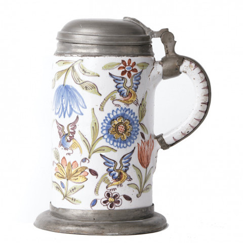 A Continental Faience Pewter Mounted Tankard by Continental Faience