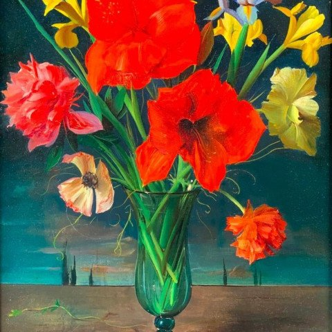 Still Life of Flowers in Vase with Surreal Landscape