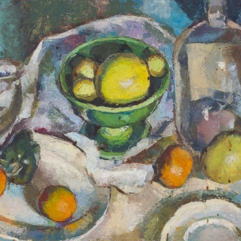 Elizabeth Nordhof Smith - Still Life with Fruit and Glass Vessel