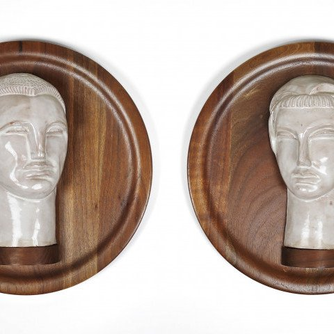 Male and Female Busts by Elmer Ladislaw Novotny