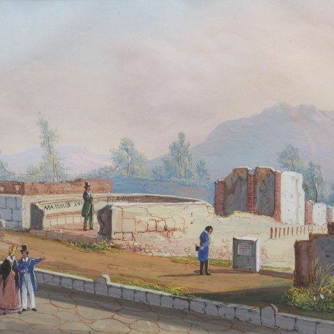 Tourists at Pompeii, Six Gouaches