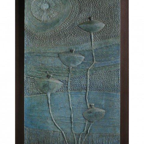 Still Life Landscape Sculpture: Lotus Pods in Pond by American Artist Robert V. Fillous