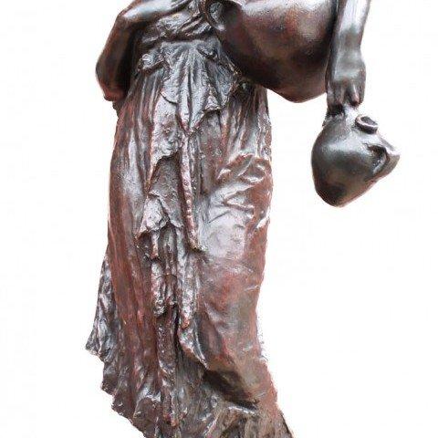 "Francesco de Matteis - ""Carefully Descending"" Neapolitan Woman Carrying Wine Vessels - 1883"