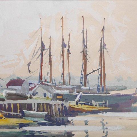Schooner, Boothbay Harbor, Maine by Frank Nelson Wilcox